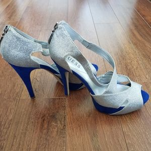 Cobalt and Silver Guess Pumps